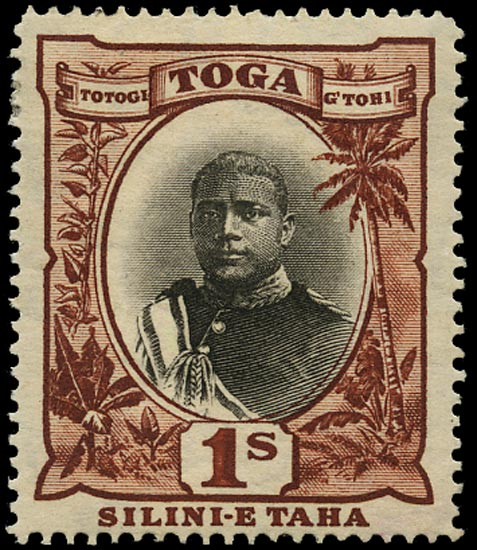 TONGA 1897  SG50a Mint 1s black and red-brown variety No hyphen before TAHA