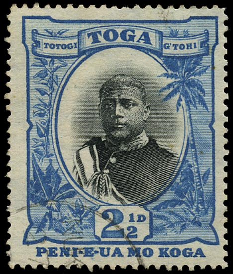 TONGA 1897  SG43a Used 2½d black and blue watermark upright variety No fraction bar