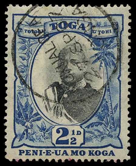 TONGA 1897  SG43ba Used 2½d black and blue watermark sideways variety No fraction bar