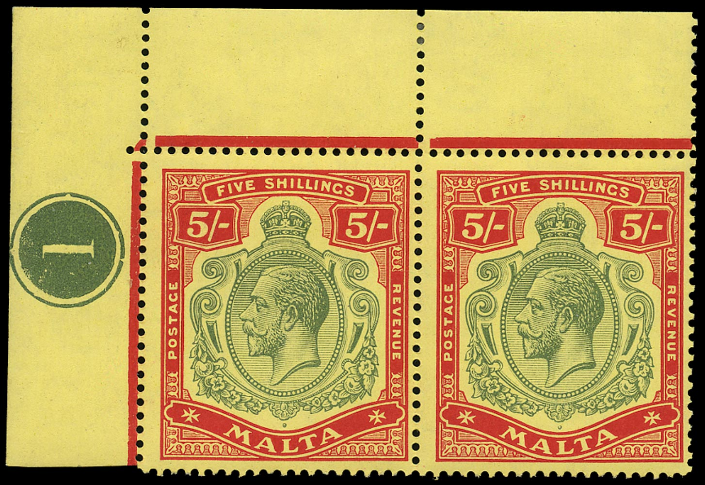 MALTA 1917  SG88 Mint KGV 5s green and red on yellow paper watermark MCA