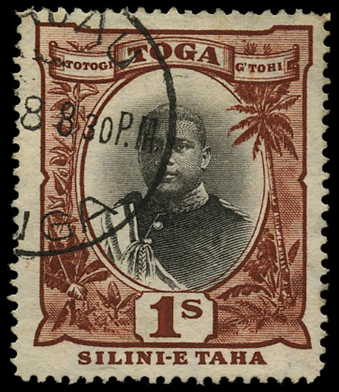TONGA 1897  SG50a Used 1s black and red-brown variety No hyphen before TAHA