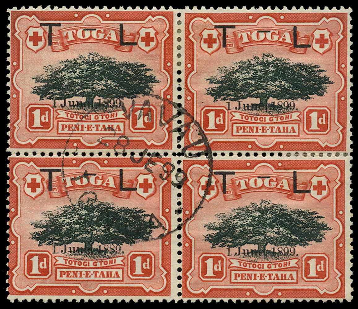 TONGA 1899  SG54a Used Royal Wedding 1d variety 1889 for 1899