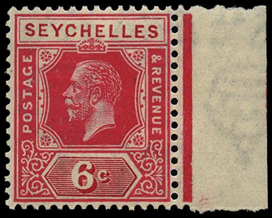 SEYCHELLES 1921  SG104w Mint unmounted KGV 6c carmine Script watermark variety watermark inverted