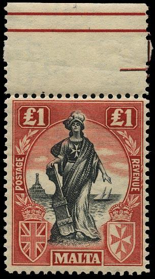 MALTA 1922  SG139 Mint unmounted £1 black and carmine-red Script watermark sideways