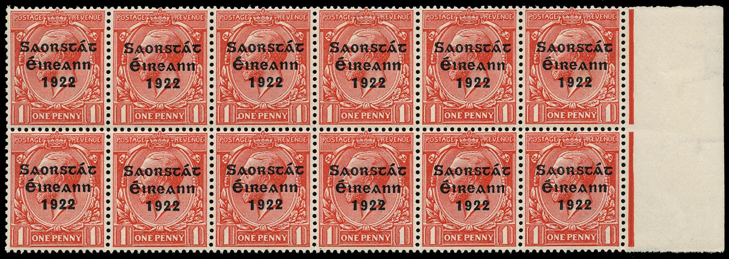 IRELAND 1922  SG53e Mint unmounted 1d scarlet Thom overprint variety Reversed Q for O