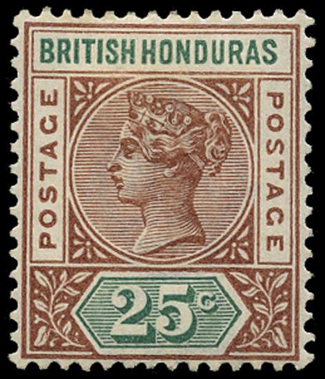 BRITISH HONDURAS 1891  SG61(b) Mint 25c red-brown and green variety Repaired S