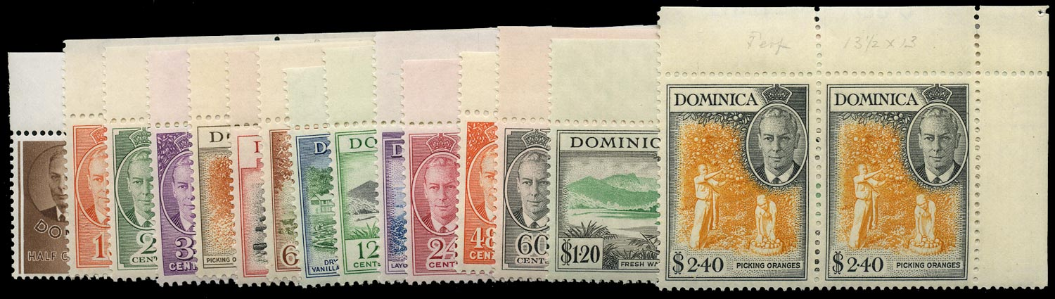 DOMINICA 1951  SG120/34 Mint unmounted KGVI set of 15 to $2.40
