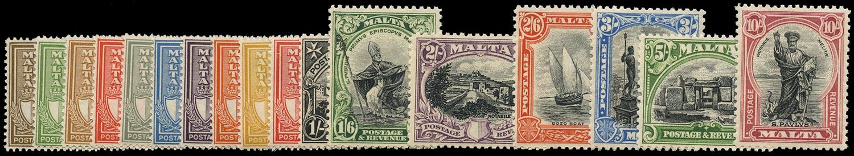 MALTA 1930  SG193/209 Mint 'POSTAGE & REVENUE' set of 17 to 10s
