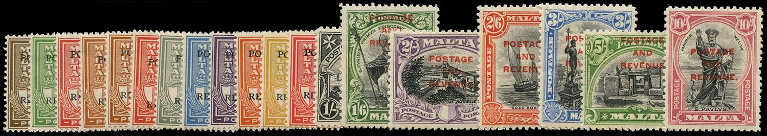 MALTA 1928  SG174/92 Mint POSTAGE AND REVENUE overprint set of 19 to 10s