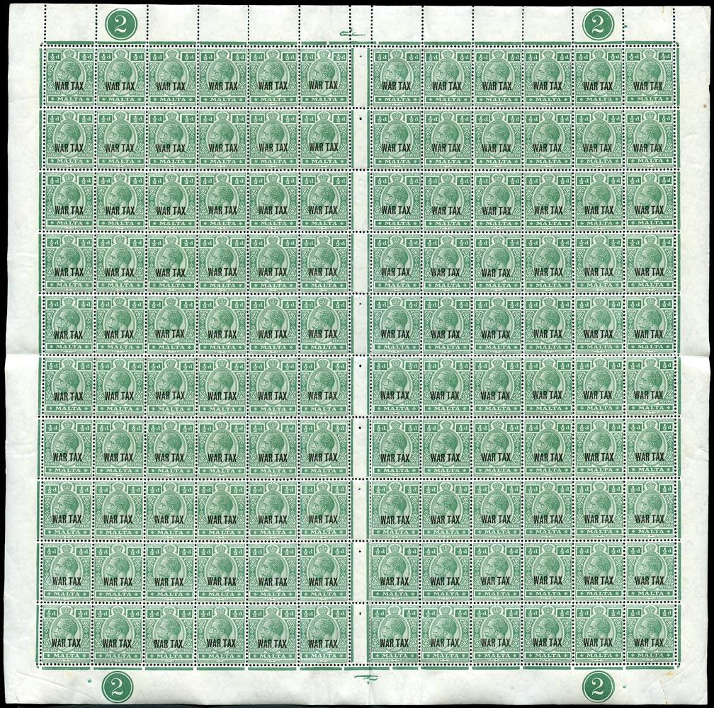 MALTA 1917  SG92 Mint unmounted War Tax ½d deep green complete sheet