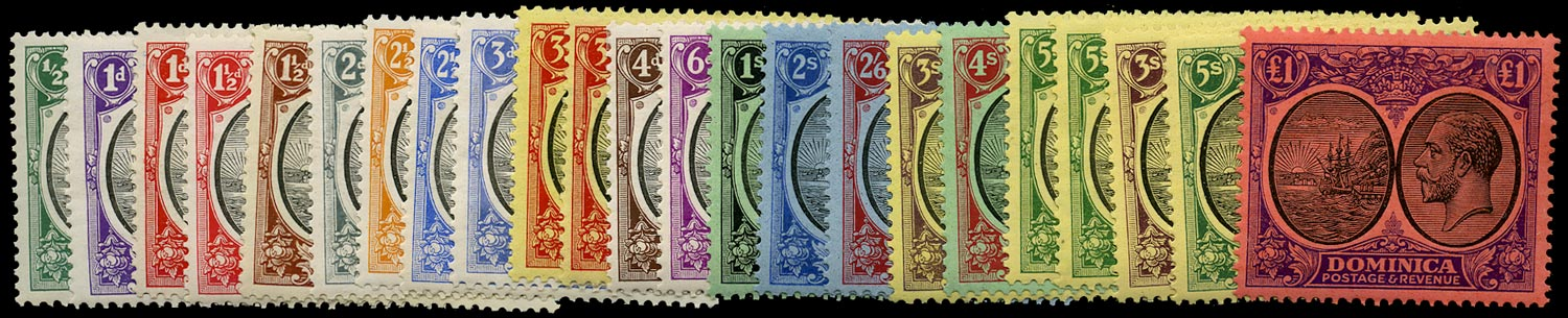 DOMINICA 1923  SG71/91 Mint KGV set of 23 to £1