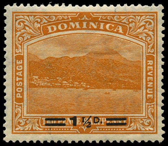 DOMINICA 1920  SG60a Mint 1½d on 2½d orange variety Short fraction bar