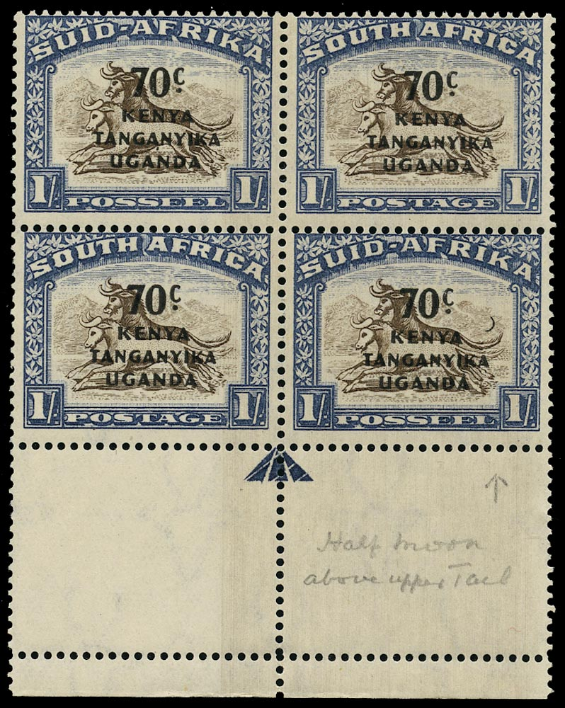 KUT 1942  SG154a Mint unmounted 70c on 1s brown and chalky blue with Crescent Moon flaw