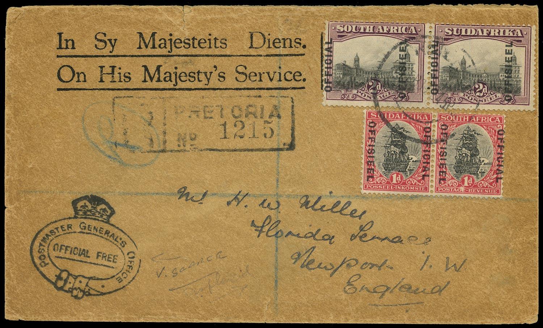 SOUTH AFRICA 1930  SGO5a, O8 Cover