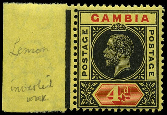 GAMBIA 1912  SG92w Mint unmounted 4d black and red watermark MCA variety watermark inverted