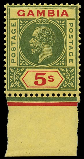 GAMBIA 1912  SG102 Mint 5s green and red on pale yellow watermark MCA