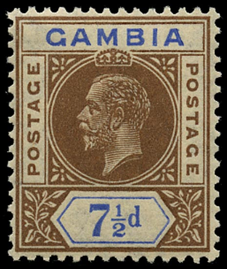 GAMBIA 1921  SG115x Mint 7½d brown and blue Script watermark reversed