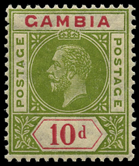 GAMBIA 1921  SG116x Mint 10d pale sage-green and carmine Script watermark reversed