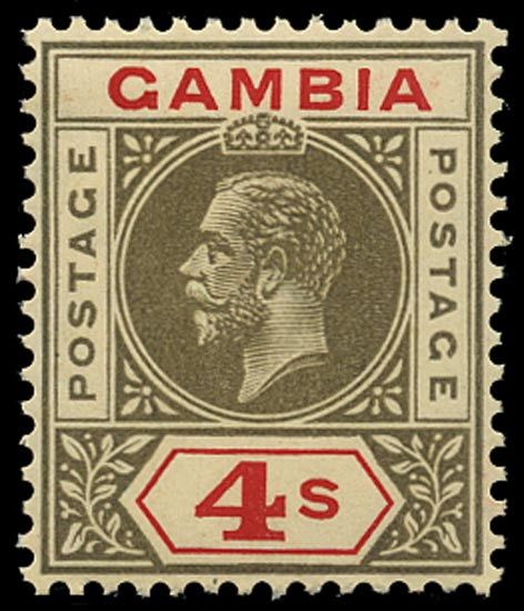 GAMBIA 1921  SG117w Mint 4s black and red Script watermark inverted