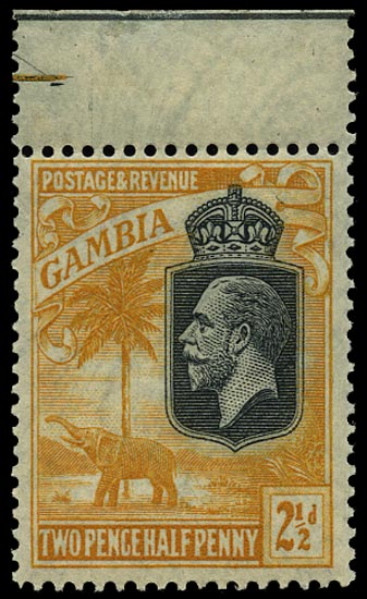 GAMBIA 1922  SG127w Mint unmounted 2½d orange-yellow variety watermark inverted