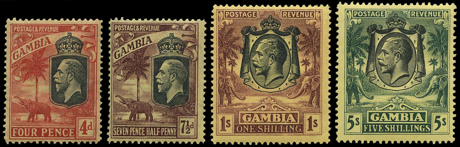 GAMBIA 1922  SG118/21 Mint Elephant and Palms set of 4 to 5s watermark MCA