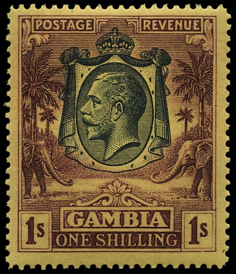 GAMBIA 1922  SG120w Mint Elephant and Palms 1s watermark MCA inverted