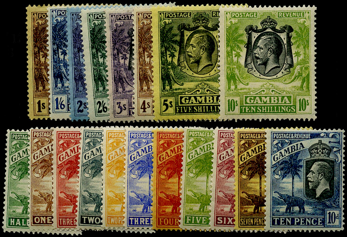 GAMBIA 1922  SG122/42 Mint Elephant and Palms set of 19 to 10s Script watermark