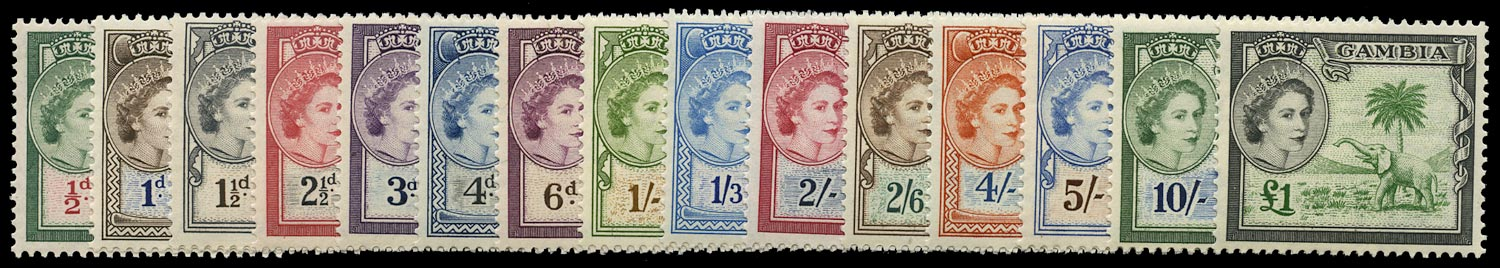GAMBIA 1953  SG171/85 Mint unmounted QEII set of 15 to £1