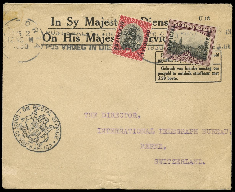 SOUTH AFRICA 1930  SGO5a, O8var Cover