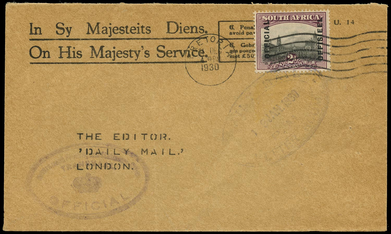 SOUTH AFRICA 1930  SGO5a Cover