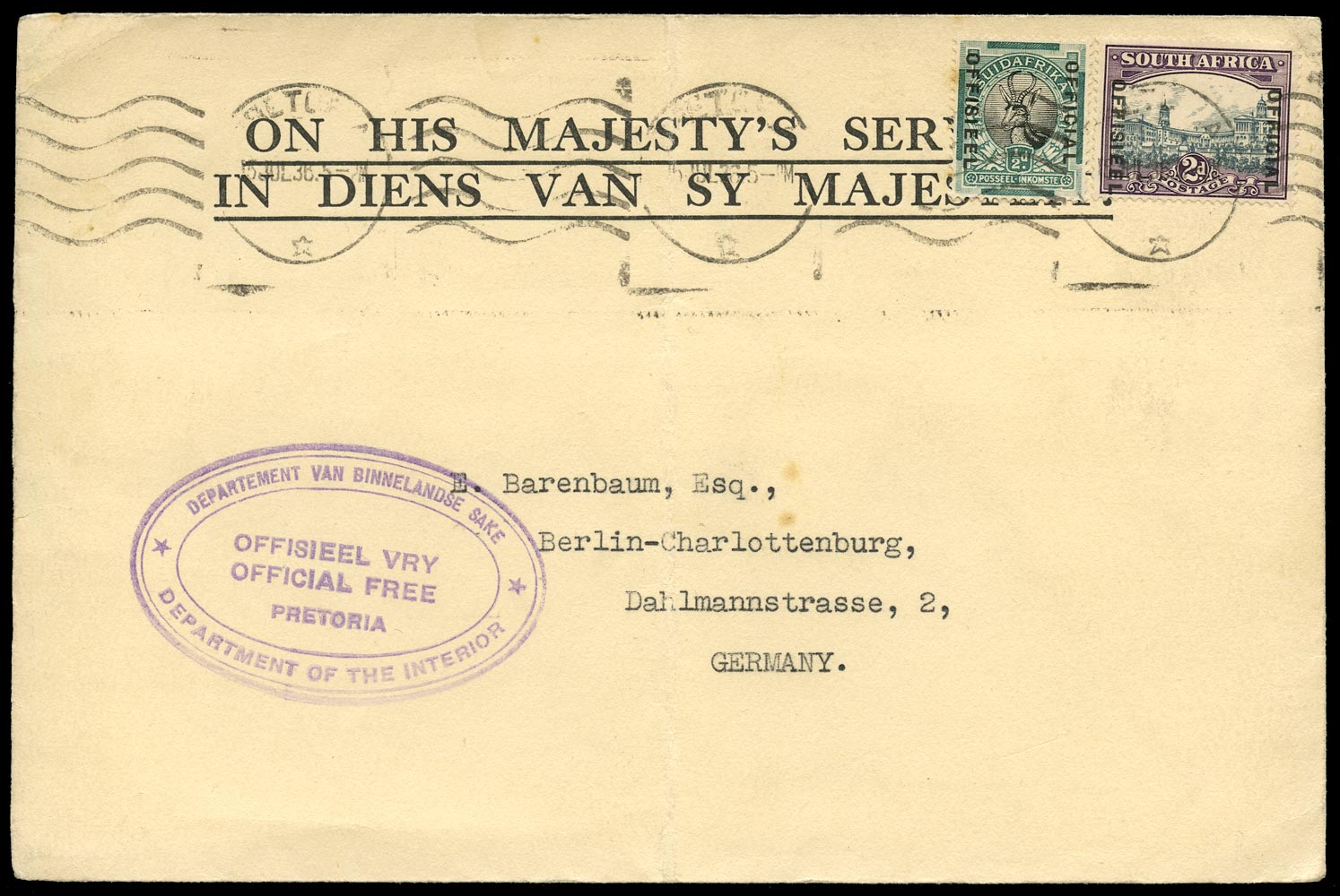 SOUTH AFRICA 1936  SGO12, O14 Cover
