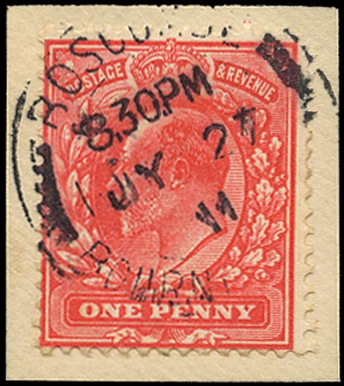 GB 1911  SG275 Used - Aniline pink (F).Boscombe cds