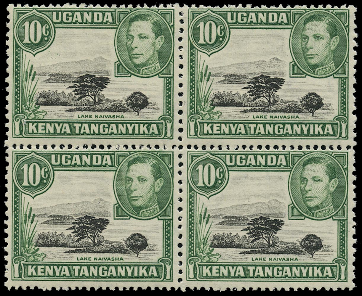 KUT 1938  SG135a Mint unmounted 10c black and green perf 13x11¾ with Mountain retouch