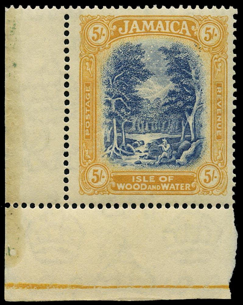 JAMAICA 1921  SG105a Mint 5s blue and pale dull orange Script watermark