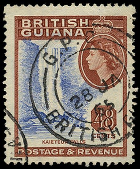 BRITISH GUIANA 1963  SG362w Used 48c Kaieteur Falls watermark w12 variety watermark inverted