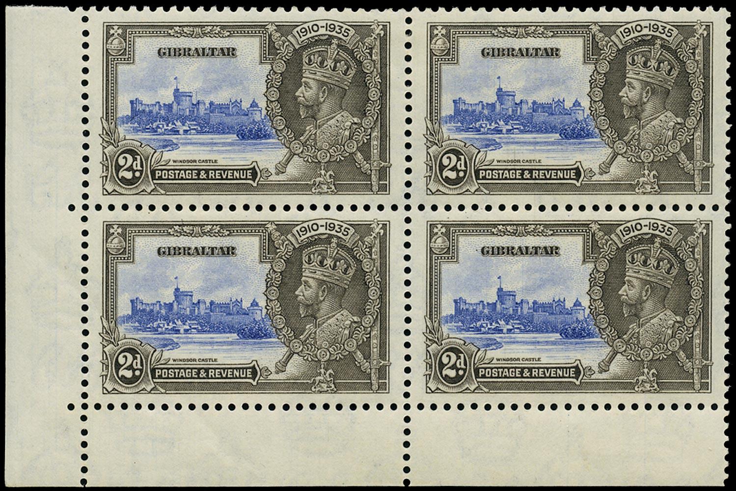 GIBRALTAR 1935  SG114a Mint Silver Jubilee 2d ultramarine and black variety Extra flagstaff
