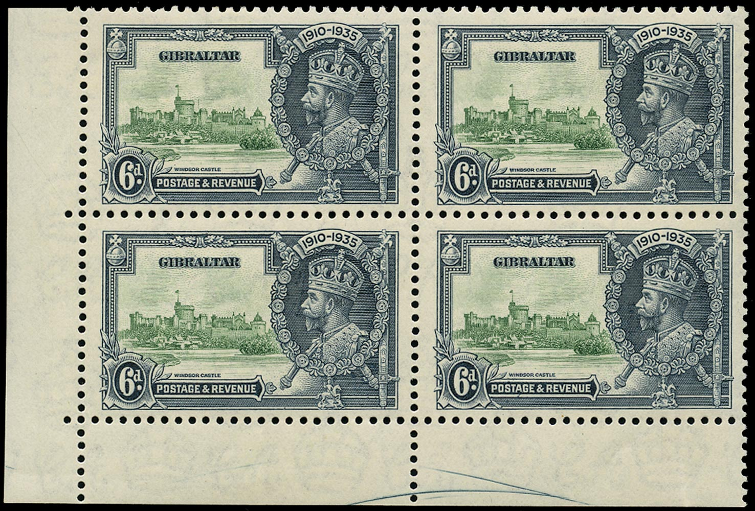GIBRALTAR 1935  SG116a Mint Silver Jubilee 6d green and indigo variety Extra flagstaff