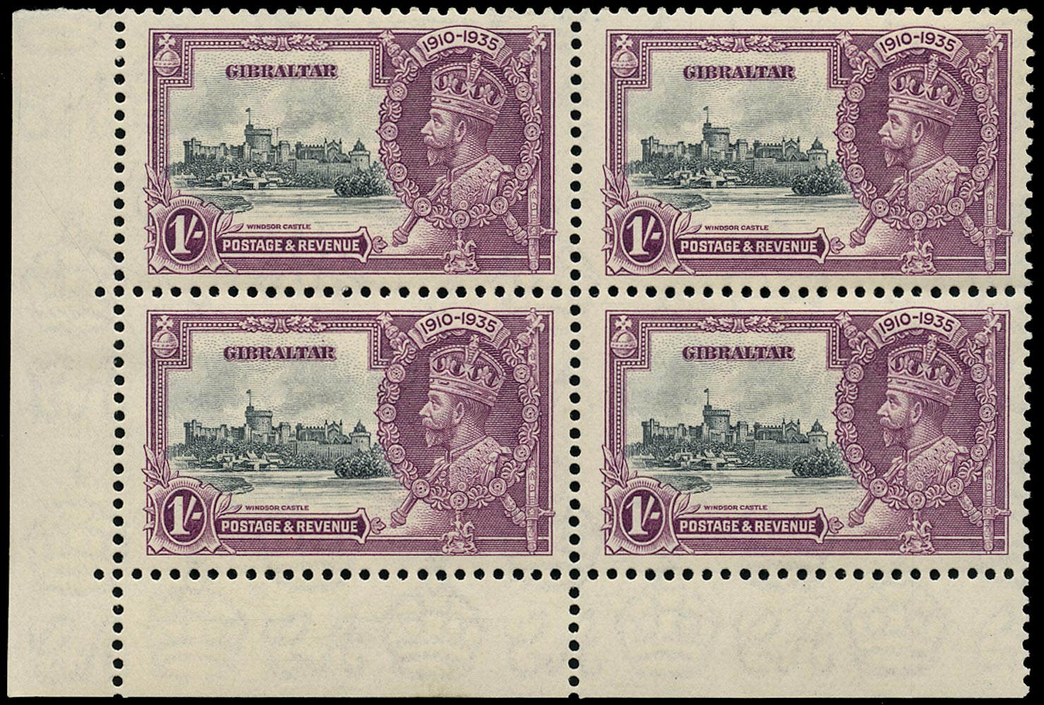 GIBRALTAR 1935  SG117a Mint unmounted Silver Jubilee 1s slate and purple variety Extra flagstaff