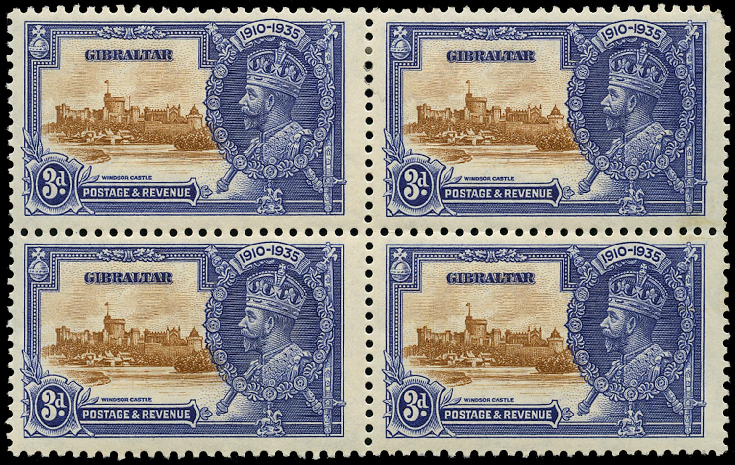 GIBRALTAR 1935  SG115a Mint Silver Jubilee 3d brown and deep blue variety Extra flagstaff