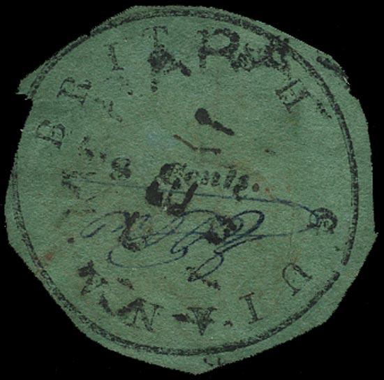 BRITISH GUIANA 1850  SG4 Used 8c black on green Cottonreel