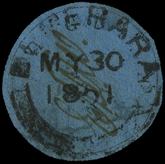 BRITISH GUIANA 1850  SG7a Used 12c black on pale blue Cottonreel variety 2 of 12 with straight foot