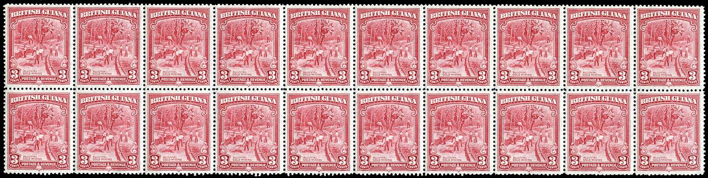 BRITISH GUIANA 1934  SG290aa Mint unmounted 3c scarlet perf 12½ watermark error Crown missing