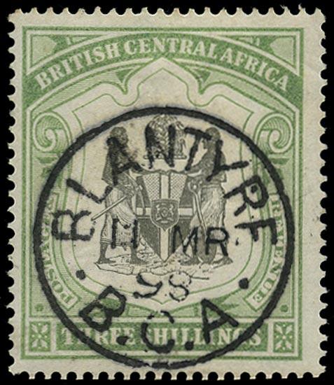 NYASALAND 1897  SG49 Used 3s black and sea-green watermark CC