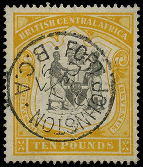 NYASALAND 1897  SG52 Used £10 black and yellow watermark CC
