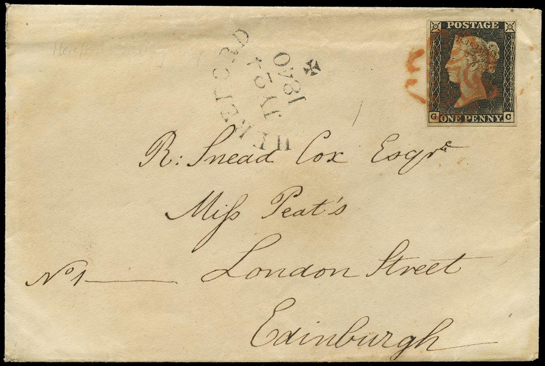 GB 1840  SG3 Pl.1a Penny Black - Cover Hereford to Edinburgh