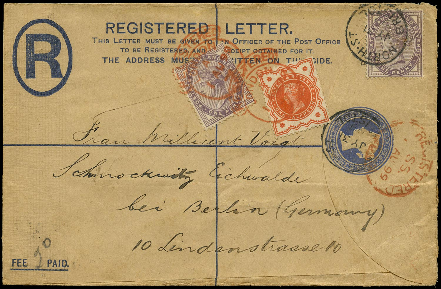 GB 1899  SG172, 197 Cover Registered mail to Berlin