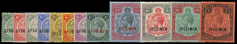 NYASALAND 1913  SG83/98s Specimen KGV set of 12 to £1 watermark Multiple Crown CA