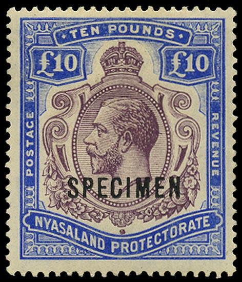 NYASALAND 1913  SG99s Specimen KGV £10 purple and dull ultramarine watermark Multiple Crown CA