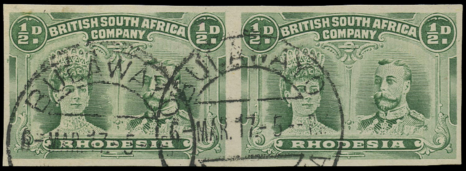 RHODESIA 1910  SG120a Used ½d bluish green Double Heads imperforate pair