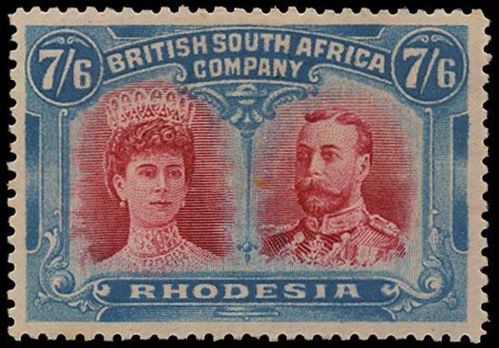 RHODESIA 1910  SG161 Mint 7s6d carmine and light blue Double Heads